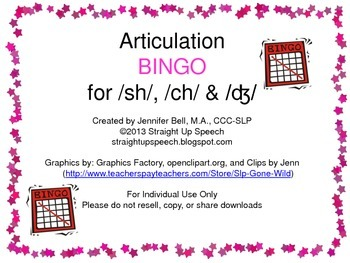 Articulation BINGO (sh, ch, and dz)