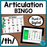 Articulation Game: /th/ BINGO for Speech Therapy (Print and Digital)