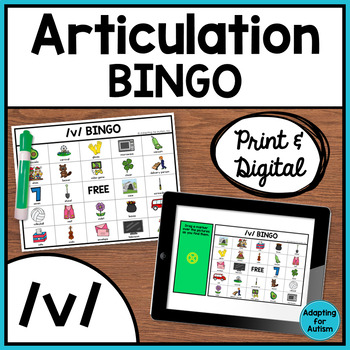 Articulation Game: /v/ BINGO for Speech Therapy