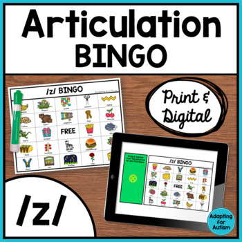 Articulation Game: /z/ BINGO for Speech Therapy
