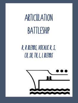 Articulation Battleship Game:  Vocalic R, R Blends, S, CH, SH, TH, L, L Blends
