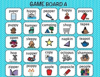 Articulation Bingo Game /p/ Sound Medial Position, Word Level