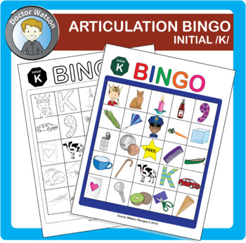 Articulation Bingo Initial K Color and B&W