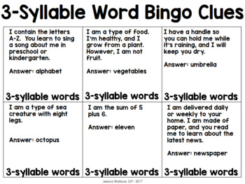 Articulation Bingo - Multi-Syllabic Words