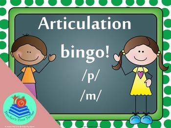 Articulation Bingo /p/ and /m/