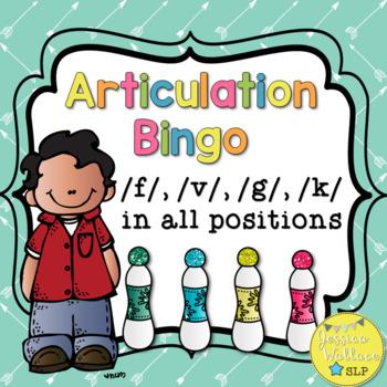 Articulation Bingo with riddles - /f/ /v/ /g/ /k/