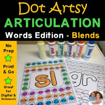 "Dot ""Artsy"" Articulation Blends Worksheets"