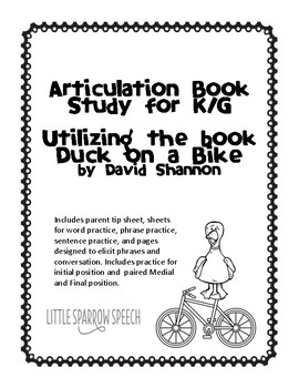 Duck On A Bike Speech Worksheets & Teaching Resources | TpT