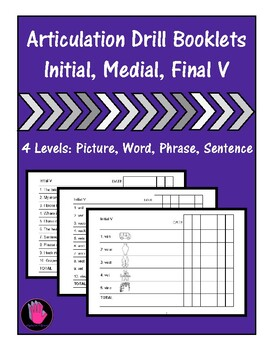 Articulation Booklets- V WORDS, Speech Therapy, Homework, Baseline Data