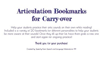 Articulation Bookmarks for Carry-over