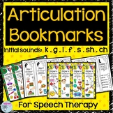 Articulation  Bookmarks for initial k, g, f, l, s, sh and
