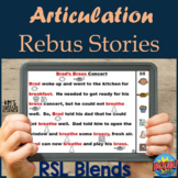 Articulation Boom Cards - Rebus Stories - R S L Blends - Distance Learning