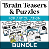 Articulation Brain Teasers and Puzzles | Speech Therapy fo