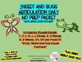 Insects and Bugs ARTICULATION Worksheets No Prep, Print and Go Packet