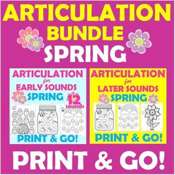 Articulation Bundle Early and Later Sounds PRINT & GO Worksheets