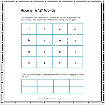 Articulation Race Bundle for /l/, /th/, /s/, /z/, /sh/, /ch/, /j/, /r/