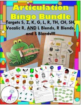 Articulation Bingo: s, z, k, g, l, r, vocalic r, th, ch, sh, and l, r, s blends
