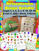 Articulation Bingo: s, z, k, g, l, r, vocalic r, th, ch, sh, and l, r, s blends