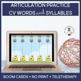 Articulation CV Words/Syllables (Teletherapy, Boom Cards, Distance Learning)