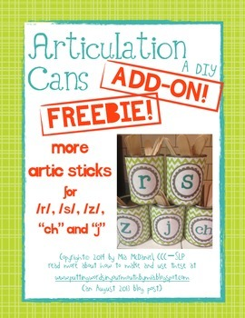 """Articulation Cans Add On FREEBIE! {more sticks for /r/,/s/,/z/,ch,""""j""""}"""