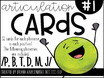 Articulation Cards #1: P, B, T, D, M, J