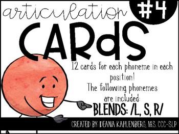 Articulation Cards #4: BLENDS L, S, R