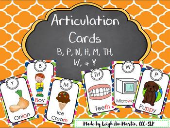 Articulation Cards **B, P, N, H, M, TH, W, & Y**