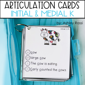 Articulation Cards For Speech Therapy: Initial & Medial K