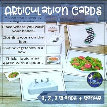 Articulation Cards S, S Blends, Z and Bonus Final ST Full Color Photos