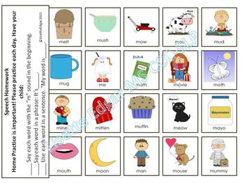 Speech Therapy Articulation Cards and Activities for M- with Min Pairs