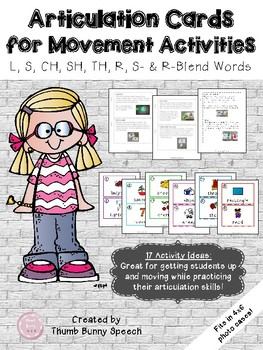 Articulation Cards for Movement Activities - L, S, CH, SH, TH, R, S- & R-Blends