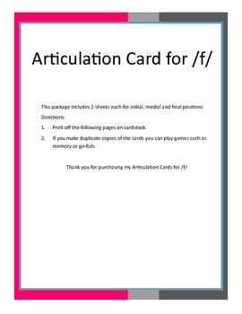 Articulation Cards for /f/