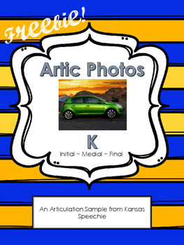 Articulation Cards with Real Photos: K initial, medial, final FREEBIE