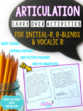 Articulation Carryover Activities For R-Distance Learning