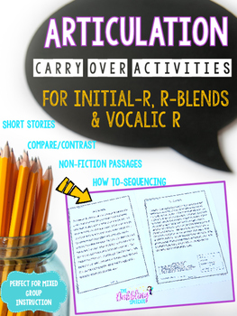 Articulation Carry Over Activities For Initial R, R-blends
