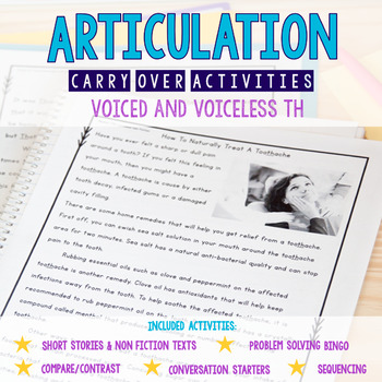 Articulation Carryover Activities for Voiced & Voiceless /TH/- Distance Learning