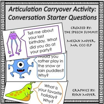 Articulation Carryover Activity: Monster Conversation Starter Questions