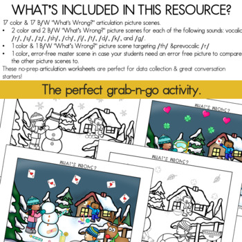"""Articulation Carryover Activity: WINTER """"What's Wrong?"""""""