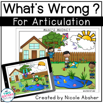 Articulation Carryover Activity for SPRING What's Wrong Picture Scenes FREEBIE
