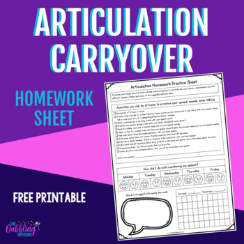 Articulation Carryover Homework Sheet- Free Printable- Distance Learning