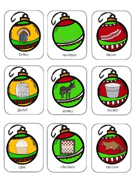 Articulation Christmas Ornaments K initial, medial, final cards and game