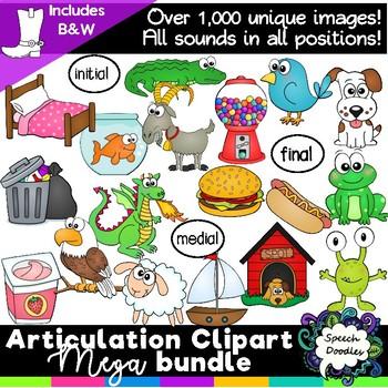 Articulation Clipart Mega Bundle -Over 1,000 images - Phonics clipart bundle