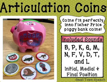 Articulation Coins- Fisher Price Piggy Bank: Speech and Language Activity/Game