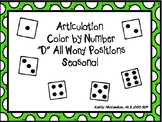 """Articulation  Color by Number  """"D"""" All Word Positions Seasonal"""