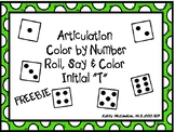 """Articulation Color by Number Roll, Say & Color Initial """"T"""""""