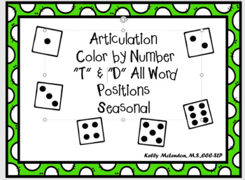 """Articulation  Color by Number """"T"""" &  """"D"""" All Word Positions Seasonal"""