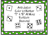 """Articulation  Color by Number """"T"""" &  """"D"""" All Word Position"""