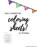 Articulation Coloring Sheets: /d/ sound all positions