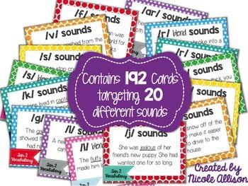 Articulation Context Clue Cards Using Tier 2 Vocabulary