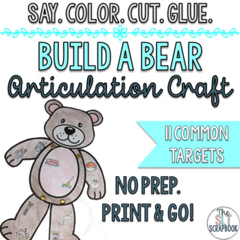 Articulation Craft- Build a Bear- No Prep